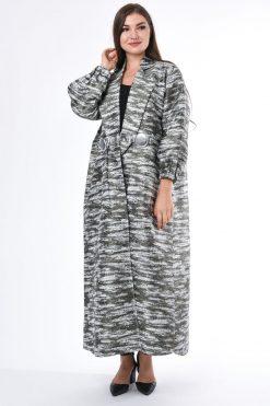 Modern Coat Style Jacquard Abaya