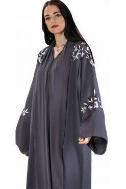 Grey Embroidered Abaya