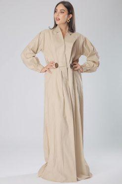 Western Style Beige Abaya Coat