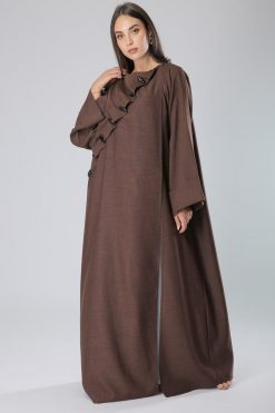 Boat Neck Buttoned Brown Abaya