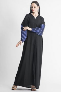 Black Abaya with Embroidered Cuffs