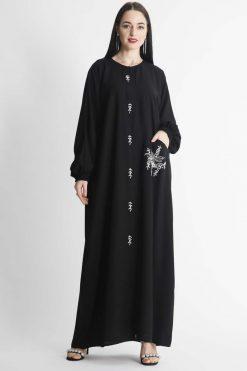 White Beaded Motif Embroidery Abaya
