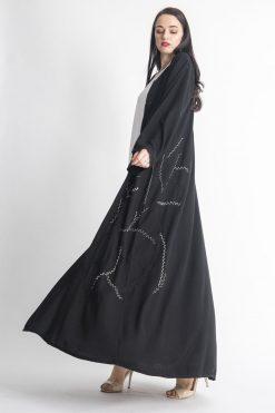 Black Simple Embroidery Abaya