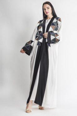 Geometrical Embroidery white Abaya