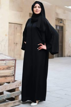 Simple Black Open Abaya
