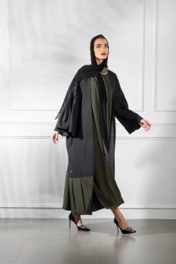 Olive Green Open Abaya