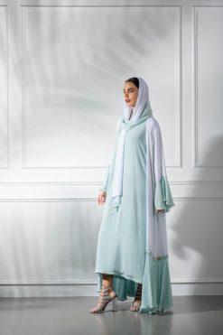White and Light Green Abaya