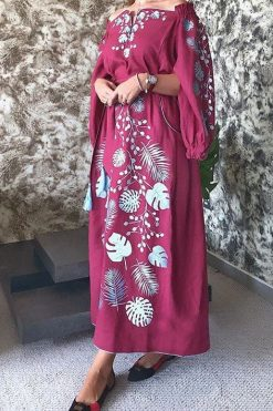 Maroon Kaftan With Embroidery