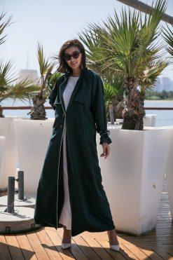 Green Coat Style Casual Abaya