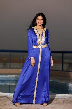 Dark Blue with Yellow Floral Satin Kaftan